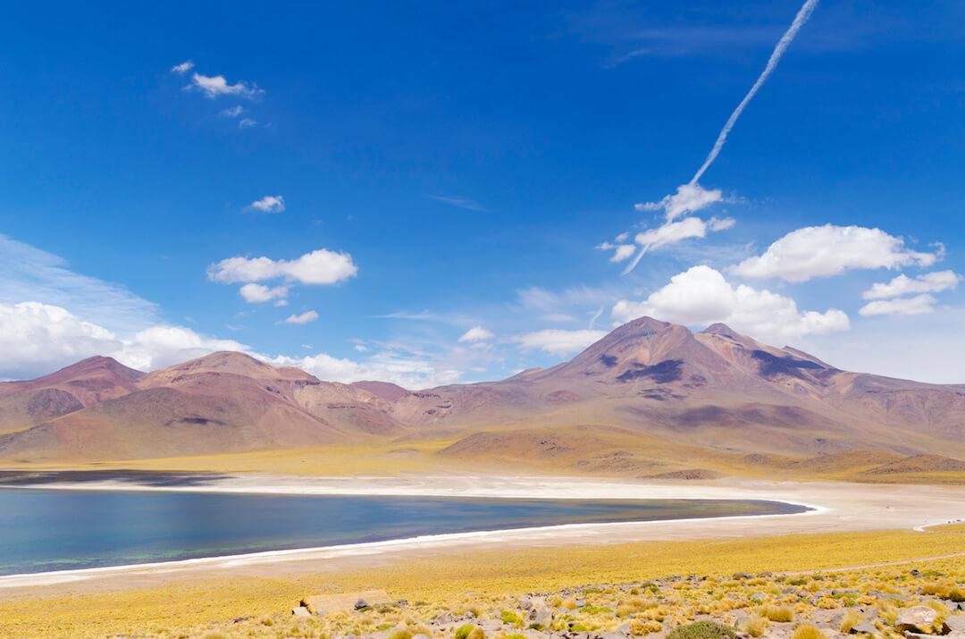 Lagunas altiplánicas frente a montañas y paja brava